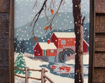 Vintage Needlpoint--The Mill in Winter