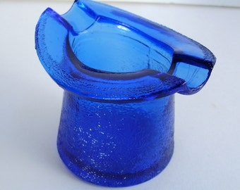 Cobalt Blue Glass Hat Ash Tray by Lowell Vintage