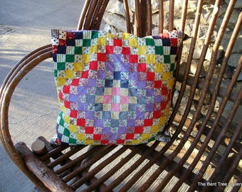 Vintage Pieced Pillow in Postage Stamp Style Entirely Sewn by Hand