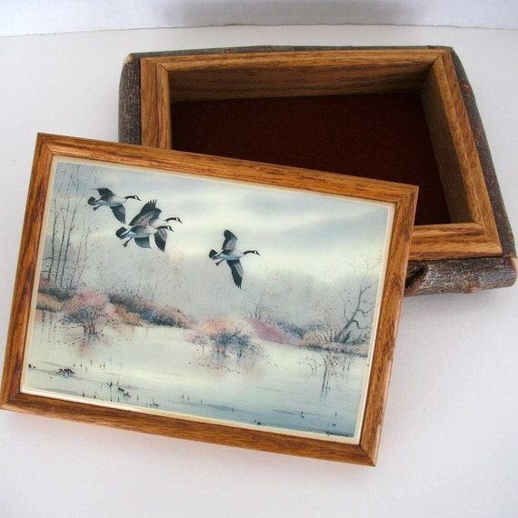 Mens Jewelry Box with Canada Geese and Willow Trim SALE