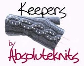 PATTERN - Keepers Fingerless Mittens Gloves Not Knitted In The Round With Beads And Cable