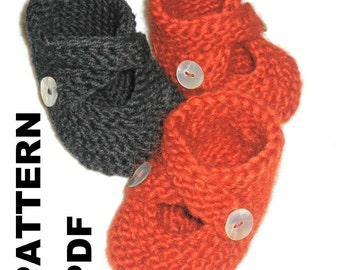 PATTERN - Toasties Baby Booties 3 Sizes  knit stitch only