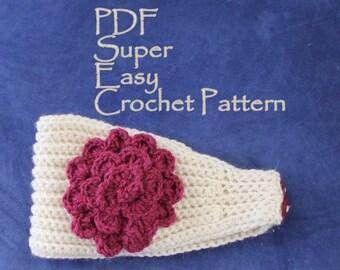 CROCHET PATTERN - Super Easy Crochet Headband With Flower PDF Aran Weight
