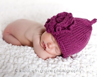 PATTERN - Roses Size 0 to 3 and 3 - 6 Months Baby Hat Knitting Pattern with Rose