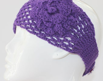 PATTERN - Headband With Flower Crochet Pattern Phototutorial