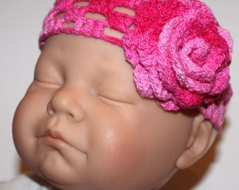 PATTERN - Crochet Headband With Flower ANY Size Photo Tutorial