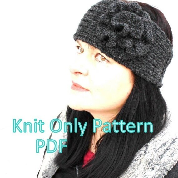 Pattern - Knitting Pattern Headband With Knitted Flower VERY EASY