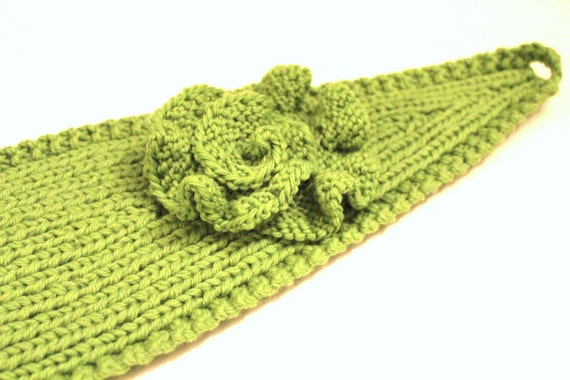 KNITTING PATTERN - Knitting Pattern Headband with Crochet Or Knitted Flower