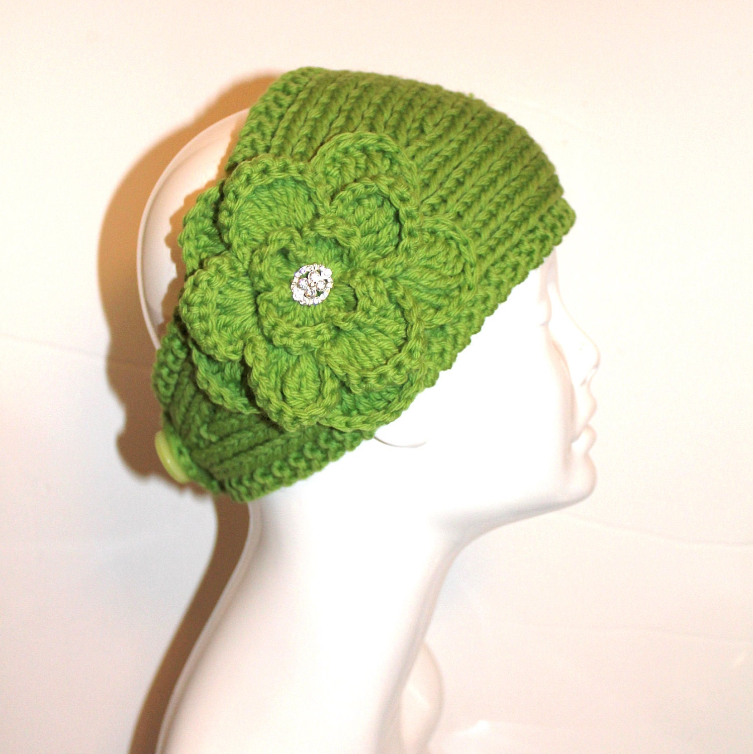 Knit Headband Pattern With Crochet Flower : PATTERN Knitting Pattern Headband with Crochet by ...