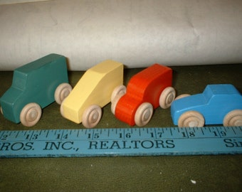 Wooden Toy Mini Cars-Set of 4 (Hand Made)