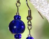 SALE Sapphire Blue Glass Bead Earrings