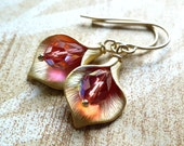 Paprika and Gold Calla Lily Earrings