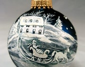 Hand Painted Christmas Glass Ball Ornament Horse Drawn Sleigh Teal Blue French Toile White Snow