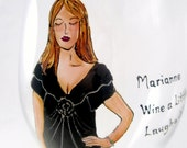 Hand Painted Custom Personalized Wine Glass- I Paint and You Design - Cartoon Caricature Great Gift