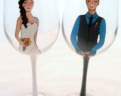 Wedding Couple Bride and Groom Hand Painted Wine Glasses - Custom Caricatures Handpainted to their likeness-  Unique Gift