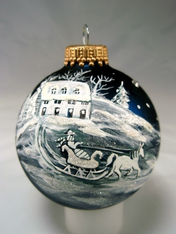 hand painted christmas glass ball ornament by picklelilydesign