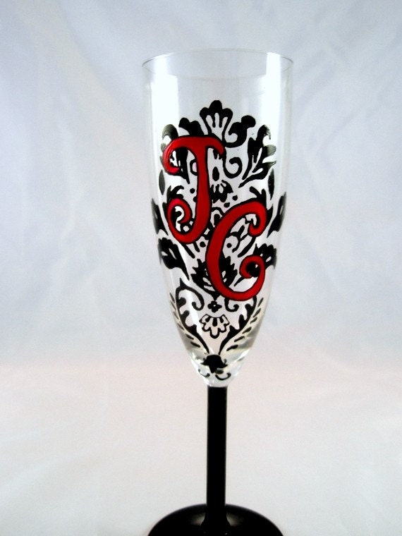 Items similar to personalized monogram hand painted damask for Painted wine glasses with initials
