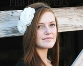 NEW ITEM Two White Flowers On A Black Stretch Headband