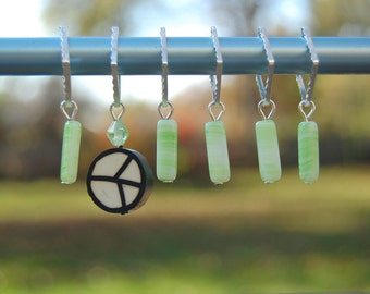 green Peace stitch markers