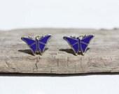 Sample Sale - Navy Blue Butterfly Studs