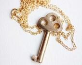 Brushed Gold Key Necklace