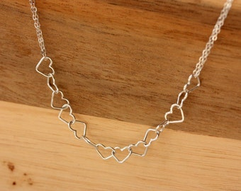 Silver Heart Links Necklace