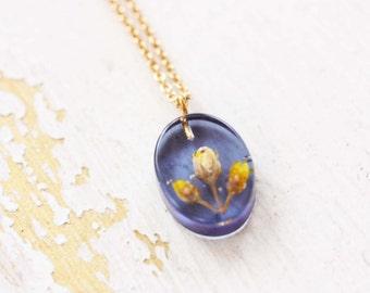 Pressed Flower Necklace - Purple