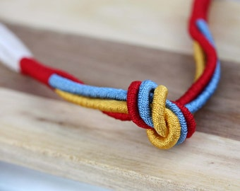 Sample Sale - Rope Knot Necklace - Red Blue Yellow