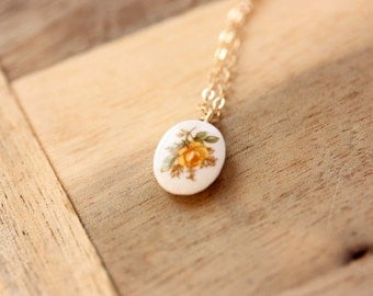 Porcelain Flower Charm Necklace