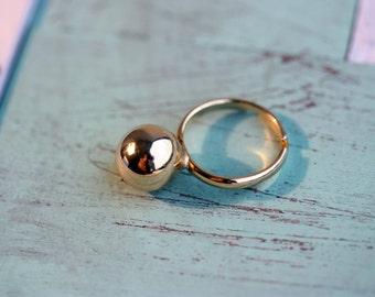 Vintage Gold Ball Ring - Matte