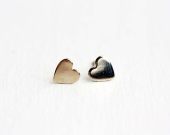 Heart Studs Gold, Gold Heart Earrings, Simple Heart Earrings, Small Heart Studs, Gold Stud Earrings, Heart Shaped Studs, Small Gold Studs