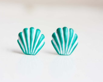 Seashell Studs, Enamel Shell Studs, Enamel Studs, Large Colorful Studs, Shell Studs, Seashell Earrings, Green, Pink, Yellow, Red, Purple