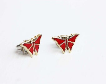 Tiny Red Butterfly Studs