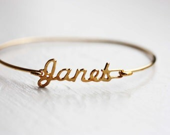 Janet Name Bracelet, Janet Bracelet, Janet, Jane Name, Name Bracelet, Gold Hook Bracelet, Hook Bracelet