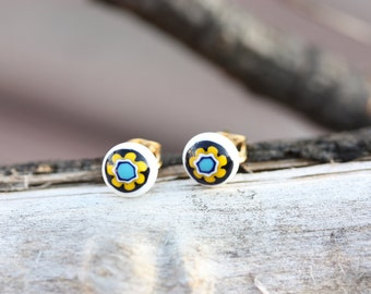 White Flower Ball Studs