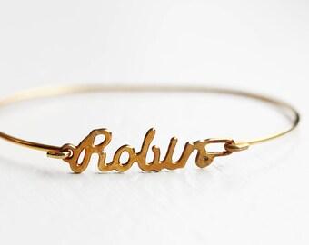 Robin Name Bracelet, Robin Bracelet, Robin, Hook Bracelet, Gold Cuff Bracelet, Gold Name Bracelet, Name Bracelet, Robin Hood, Gold Wire Cuff