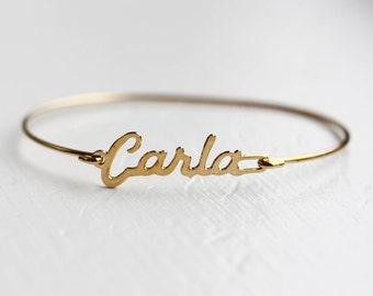 Carla Name Bracelet, Carla Bracelet, Carla, Name Bracelet, Hook Bracelet, Gold Name Bracelet, Cuff Bracelet, Name Cuff, Wire Bracelet, Cuff