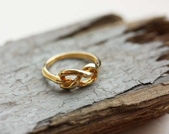 Knot Ring Gold, Knot Ring, Twist Ring, Pretzel Ring, Gold Ring, Sailor Knot Ring, Love Knot Ring