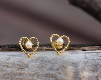 Heart Pearl Studs, Gold Heart Studs, Heart Studs, Heart Shaped Studs, Heart Earrings, Gold Heart Earrings, Gold Pearl Earrings, Pearl Studs