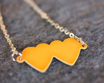 Orange Heart Necklace, Double Heart Necklace, Enamel Heart Necklace, Handmade Necklace, Heart Necklace, Two Heart Necklace, Charm Necklace