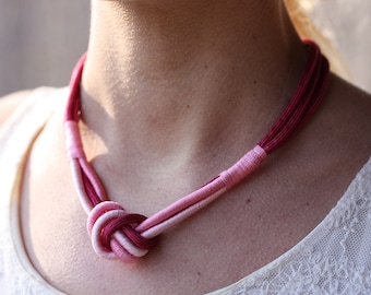 Rope Knot Necklace - Pink