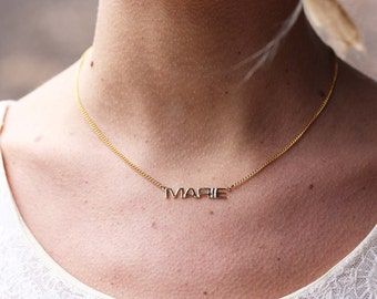 Marie Name Necklace, Marie Name Jewelry, Name Necklace Gold, Marie Gold Jewelry, Retro Name Necklace