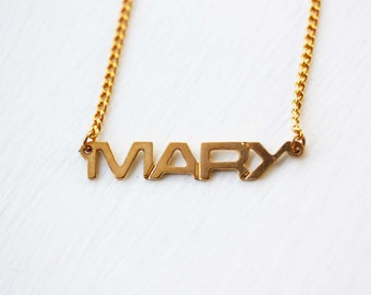 Mary Name Necklace, Mary Necklace, Mary, Name Necklace, Gold Name Necklace, Vintage Name Necklace, Name Jewelry, Name Plate Necklace