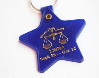 Libra Star Keychain, Astrology Keychain, Vintage Keychain, Plastic Keychain, Zodiac Keychain, Libra Keychain, Star Keychain