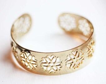 Gold Snowflake Cuff