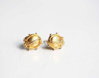Sample Sale - Tiny Gold Lady Bug Studs