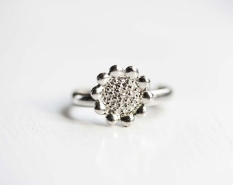 Silver Sunflower Ring, Sunflower Ring, Silver Ring, Adjustable Silver Ring, Silver Flower Ring, Flower Ring, Round Silver Ring, Small Ring