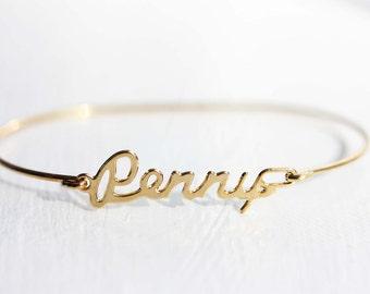 Penny Name Bracelet, Penny Bracelet, Penelope Name Bracelet, Penny, Penny Name, Name Bracelet, Gold Name Bracelet, Wire Name Bracelet, Name