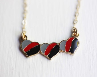 Triple Heart Necklace - Grey, Red, Black