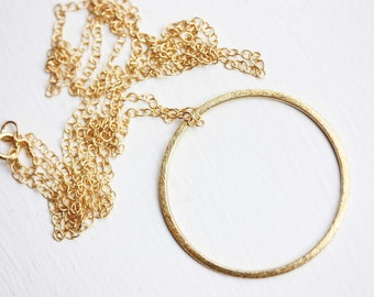 Gold Circle Necklace, Long Necklace, Gold Filled Necklace, Long Circle Necklace, Circle Charm Necklace